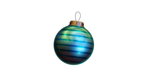 Isolated Light Blue Stripey Christmas Bauble Animation