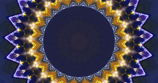Christmas colored background. Kaleidoscopic festive background. Pattern with bright lights Animation