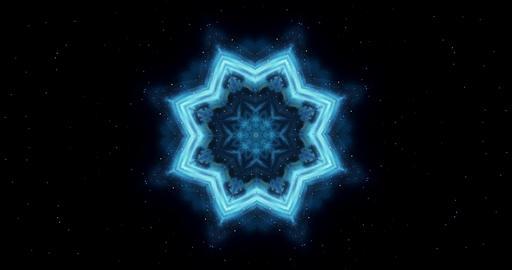 Transforming ornamental vintage mosaic art flower. Spinning abstract magic circle. Esoteric cosmic Animation