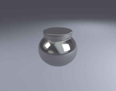 silver jar product pack view Photo