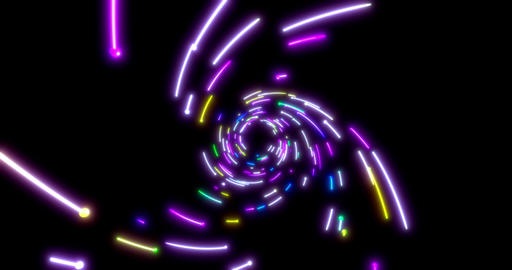 Glowing neon lines tunnel. Blue red pink and violet… Stock Video Footage