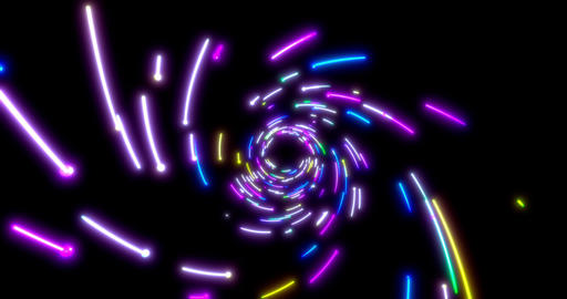 Glowing neon lines tunnel. Blue red pink and violet colorful lighting. Seamless Animation