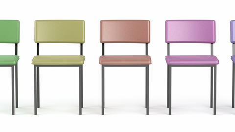 Row with colorful chairs Animation