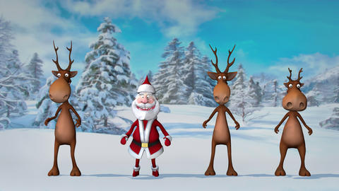 Funny crazy Santa Claus and deers are dancing in the Christmas winter forest ライブ動画