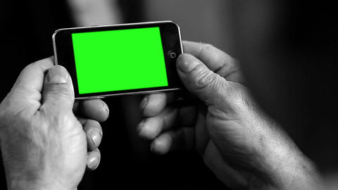 Old Smart Phone Green Screen. Black And White Tone. Zoom In Shot Live Action