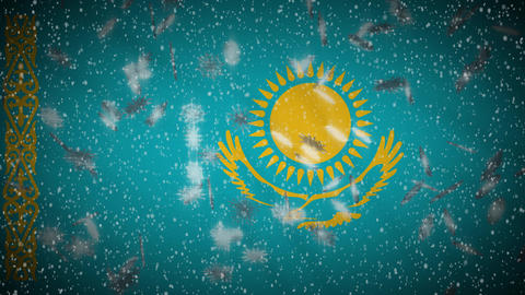 Kazakhstan flag falling snow loopable, New Year and Christmas background, loop Animation