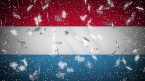 Luxembourg flag falling snow loopable, New Year and Christmas background, loop Animation