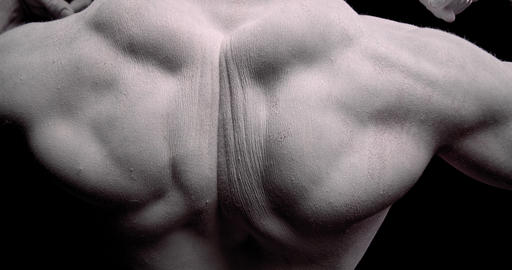 Big muscular back of an ancient God Zeus, black and white, close up, 4k Live Action