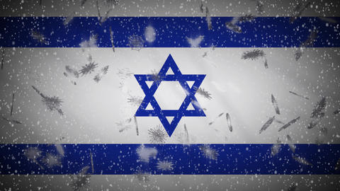 Israel flag falling snow loopable, New Year and Christmas background, loop Animation