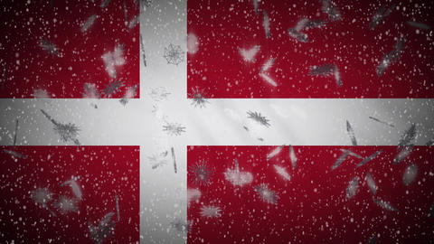Denmark flag falling snow loopable, New Year and Christmas background, loop Animation
