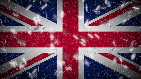 United Kingdom flag falling snow loopable, New Year and Christmas background Animation