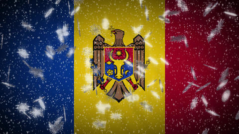 Moldova flag falling snow loopable, New Year and Christmas background, loop Animation