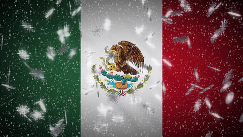 Mexico flag falling snow loopable, New Year and Christmas background, loop Animation