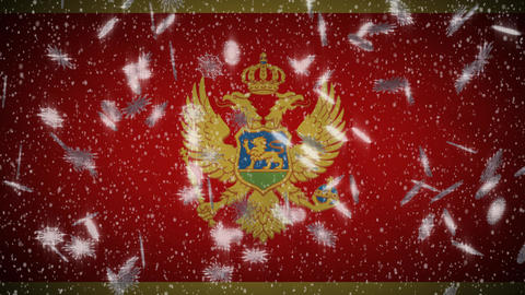 Montenegro flag falling snow loopable, New Year and Christmas background, loop Animation