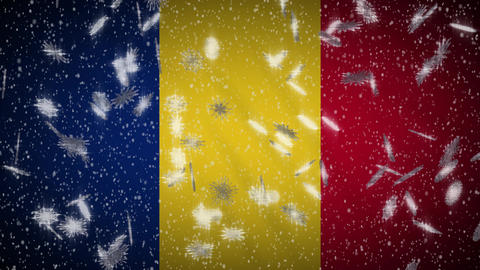 Romania flag falling snow loopable, New Year and Christmas background, loop Animation