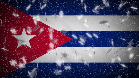 Cuba flag falling snow loopable, New Year and Christmas background, loop Animation