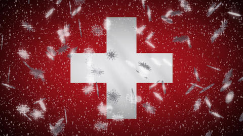 Switzerland flag falling snow loopable, New Year and Christmas background, loop Animation