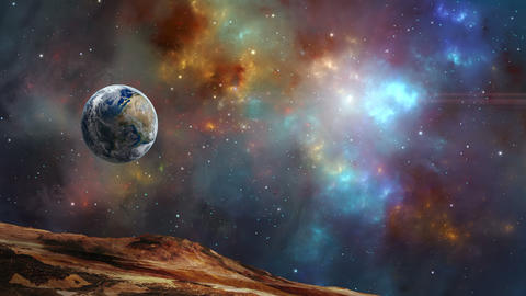 Space scene. Eearth planet fly in colorful fractal nebula. Elements furnished by NASA. 3D rendering Animation