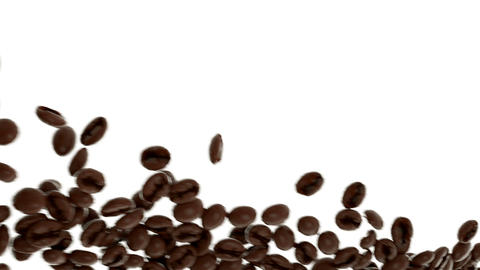 Roasted Coffee beans flow in slow motion with alpha. 3d rendering Animation