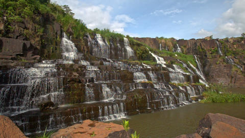 Close Motion from Stones to Waterfall Cascade Panagarh Footage
