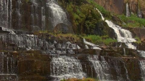 Waterfall Cascade Steps of Panagarh Closeup in Vietnam Footage
