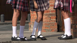 Girls With Skirts And White Socks Footage