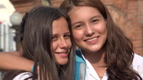 Teen Girl Friends Smiling Live Action