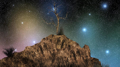 Time lapse of a starry and colorful night sky behind the rock and tree Footage