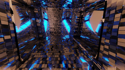 futuristic reflective sci-fi tunnel corridor with glowing lights and bricks Animation