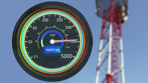 4K Internet Bandwith Meter 3D Animation Animation