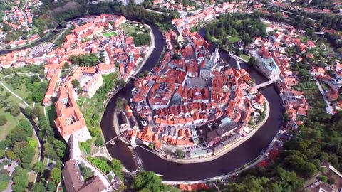 Prague view from above. Sunny, windless weather. You can see the beautiful Czech Live Action