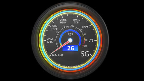 4K Mobile Internet Generations Speed Meter 3D Animation Animation