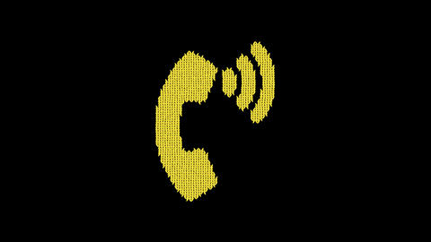 Symbol phone volume is knitted from a woolen thread. Knit like a sweater Animation