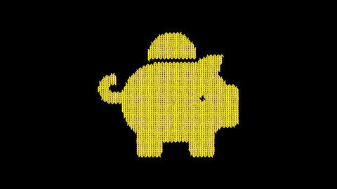 Symbol piggy bank is knitted from a woolen thread. Knit like a sweater Animation