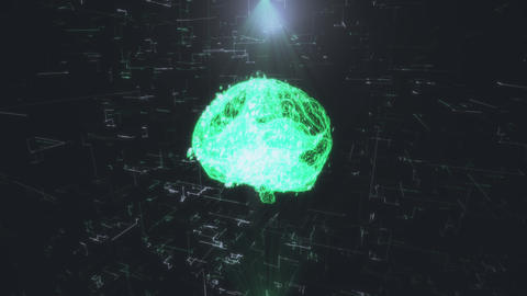 hologram of the brain representing artificial intelligence. Artificial Live Action