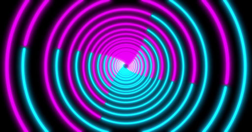 Neon Circle background with LED Fluorescent tunnel. Ultraviolet abstract blue Animation