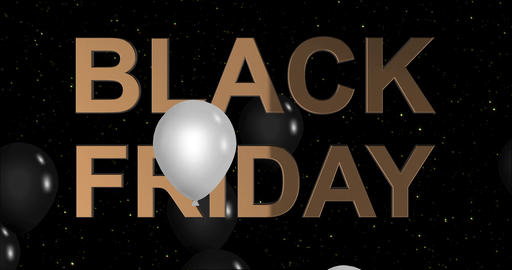 Black Friday advertisement with golden sign and black and white balloons Animation