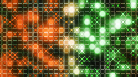 3d rendering of the particles vj rects orange green Animation