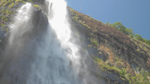 pictorial large waterfall under clear blue sky slow motion ライブ動画