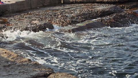 Sea waves crash on beach rocks on Black Sea Live Action
