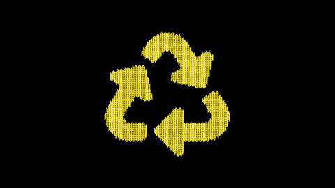 Symbol recycle is knitted from a woolen thread. Knit like a sweater Animation