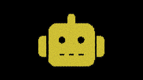 Symbol robot is knitted from a woolen thread. Knit like a sweater Animation