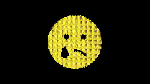 Symbol sad tear is knitted from a woolen thread. Knit like a sweater Animation