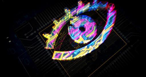 Cyber spying with eye symbol futuristic animation Animation