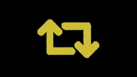 Symbol retweet is knitted from a woolen thread. Knit like a sweater Animation