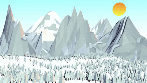 Lowpoly Winter Landscape Videos animados