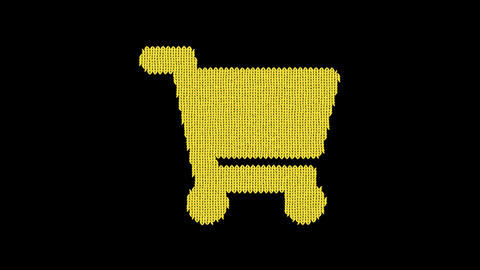 Symbol shopping cart is knitted from a woolen thread. Knit like a sweater Animation
