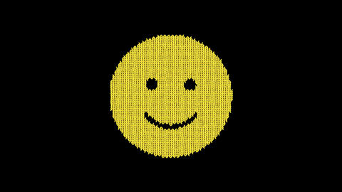 Symbol smile is knitted from a woolen thread. Knit like a sweater Animation