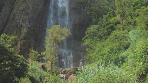 picturesque waterfall from high rocky cliff with green trees Live Action