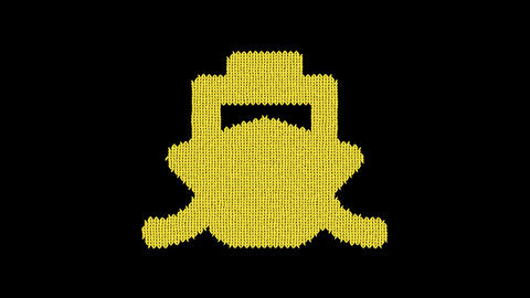 Symbol ship is knitted from a woolen thread. Knit like a sweater Animation